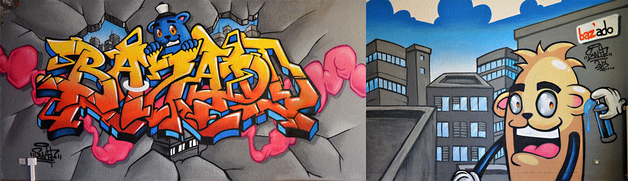 Decoration salle jeune de Baziege graffiti graff toulouse swi swiponer wxp 31