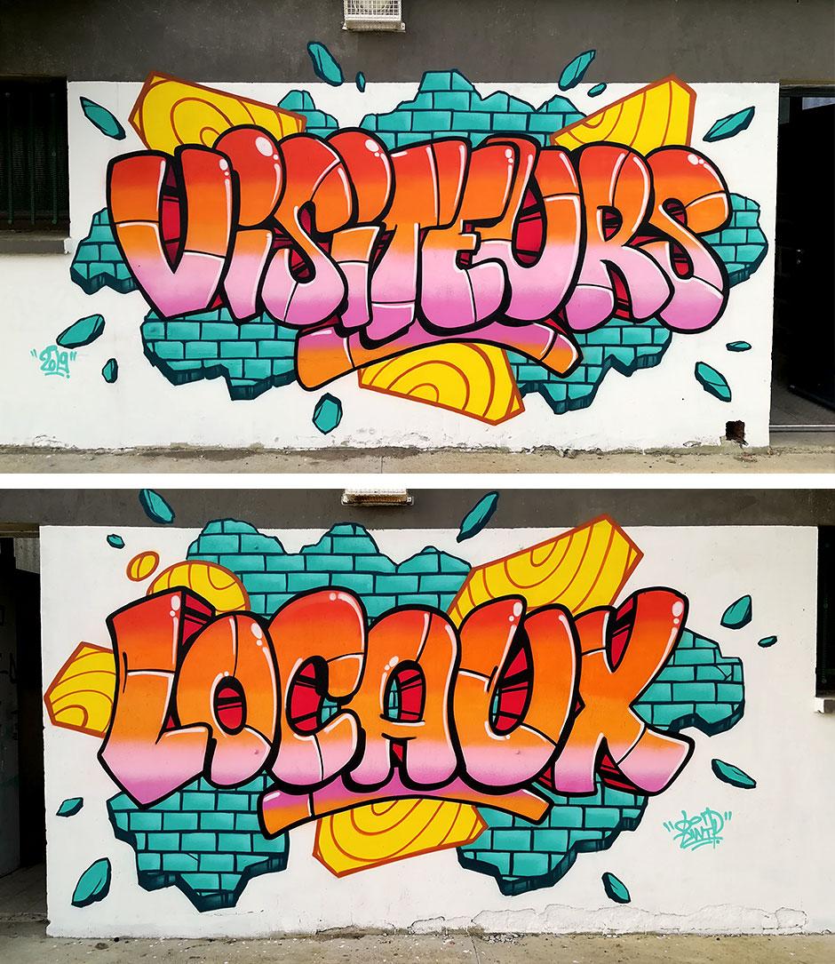 Decoration graffiti terrain de foot Montlaur